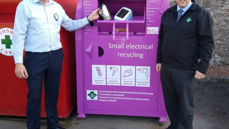 One of the new Small Electrical Waste containers. From left to right: Jonathon Merriman, Store Manager, Tesco Dingwall (where the Dingwall container is located) and Martin Macleod, CEO, ILM Highland.