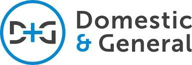 Domestic and General logo - words in black and white with some blue