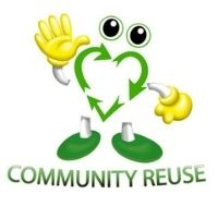 Logo for Community Reuse - A recycle symbol in the shape of a heart with arms and eyes